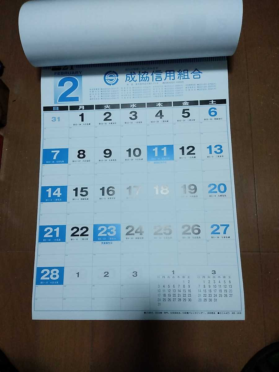即決 送料510円 2021年 壁掛けカレンダー 13枚 縦 54cm 横 38cm メモ欄あり_画像3
