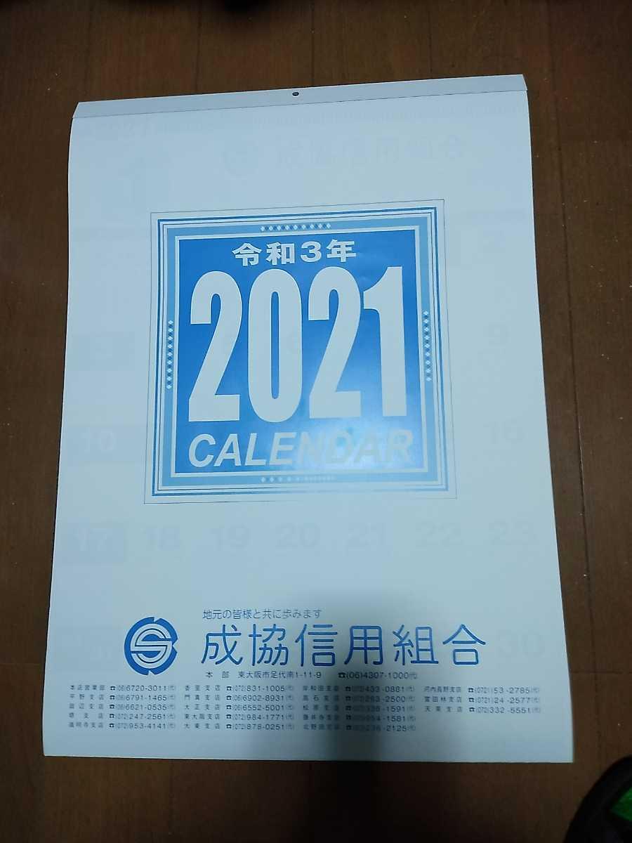 即決 送料510円 2021年 壁掛けカレンダー 13枚 縦 54cm 横 38cm メモ欄あり_画像1
