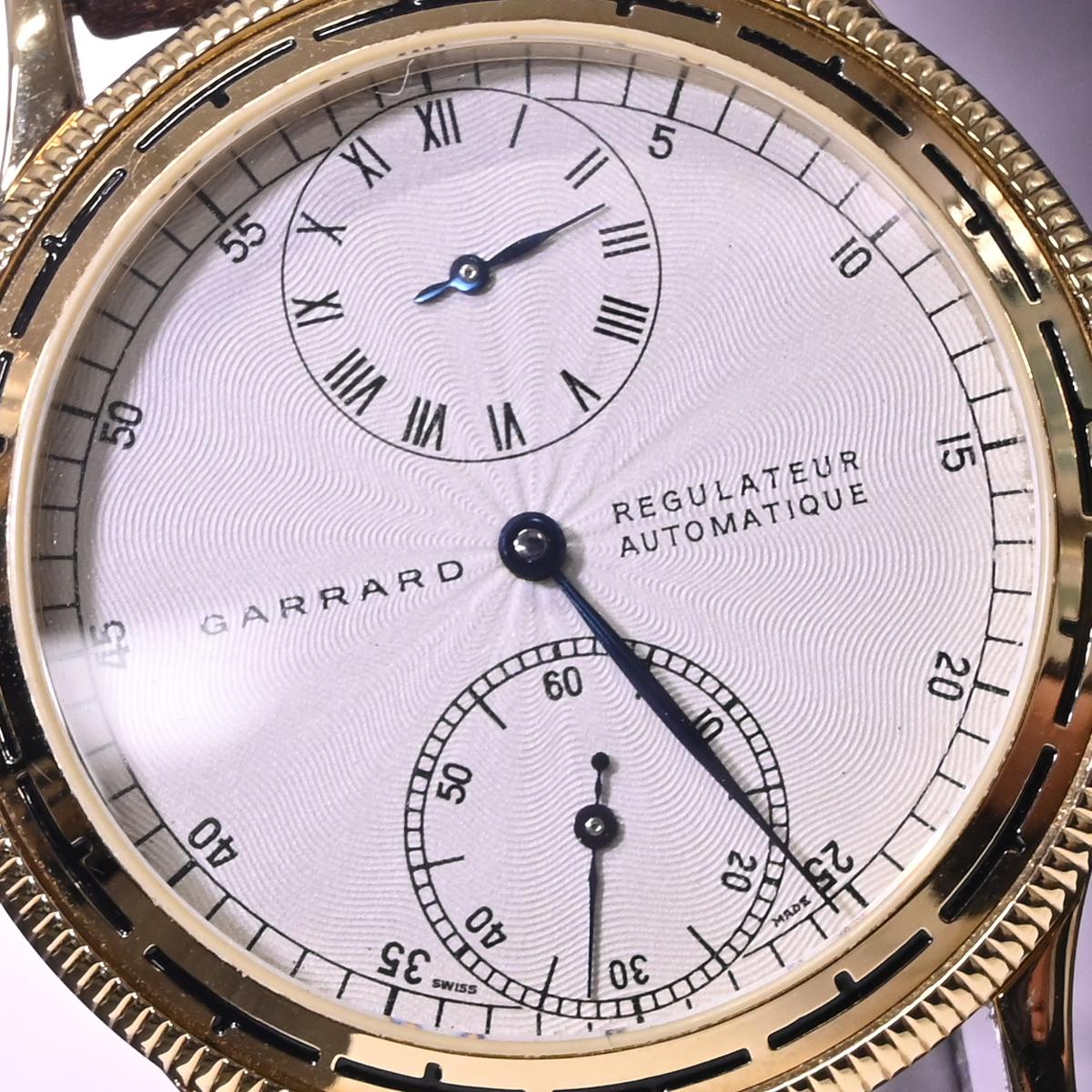 本物 極上品 英国 ガラード 極希少 独立針 レギュレーター オートマチック メンズウォッチ 裏スケ 男性用自動巻腕時計 保存箱付 GARRARD_画像3