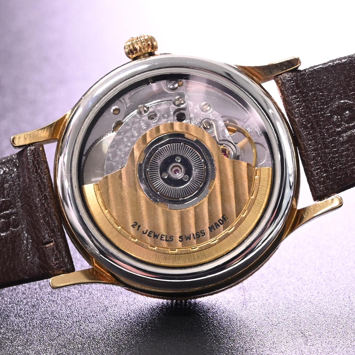 本物 極上品 英国 ガラード 極希少 独立針 レギュレーター オートマチック メンズウォッチ 裏スケ 男性用自動巻腕時計 保存箱付 GARRARD_画像8