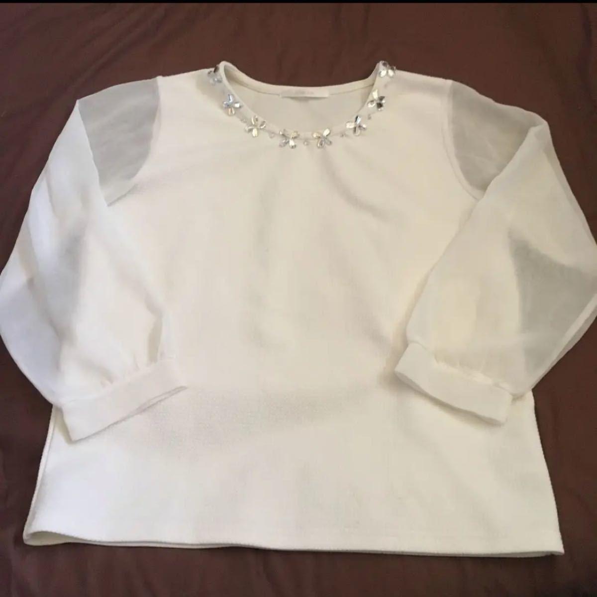 トップス ブラウス 透け 長袖 白 ホワイト ビジュー  シンプル M