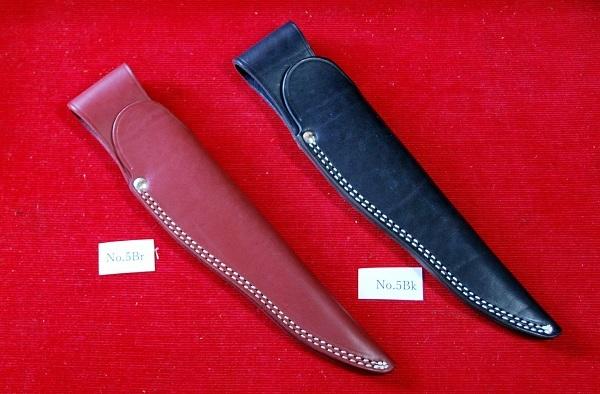 No.5Bk 牛革ナイフケース。Black Col・Blade:10cm~12cm用