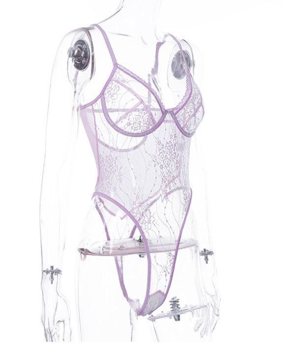 P13286紫M超sexy 大胆 過激 透け透け 花柄レース ハイレグレオタード レディース ランジェリー コスプレ エロ下着 コスチューム_画像7