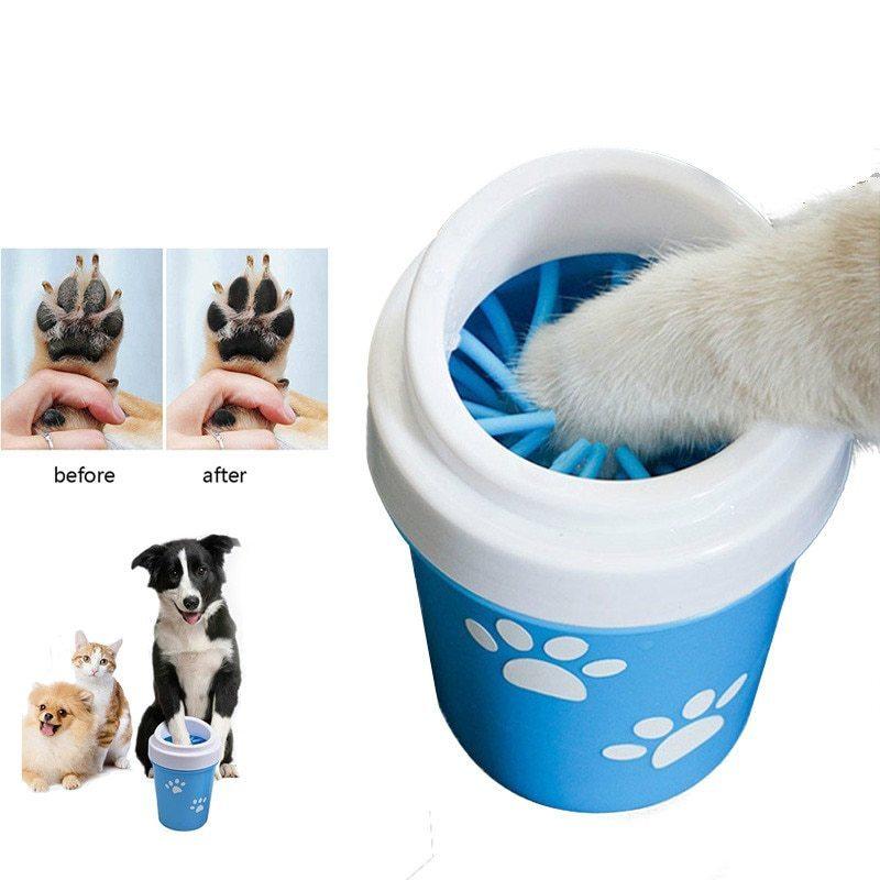 人気急上昇♪便利なペット用足洗浄機【Lサイズ】☆ペット 犬 猫 散歩 ブラシ 掃除 洗う ポータブル クリーニング カップ ブルー RU118_画像1