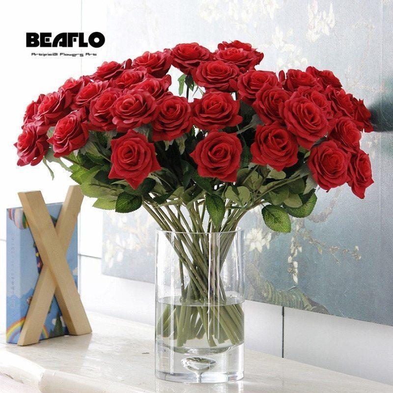 25本 バラ 高級造花 アートフラワー シルクフラワー 花束 薔薇 ローズ アレンジメント ブーケ プレゼント お祝い 結婚式 赤_画像1