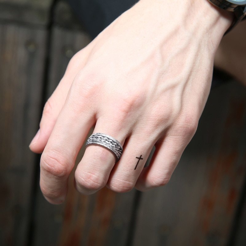 8mmクールスピナーチェーンリング ブラック メンズタイヤテクスチャ ステンレス パンク 男性 ゴールド シルバー 指輪 アクセサリー_画像2