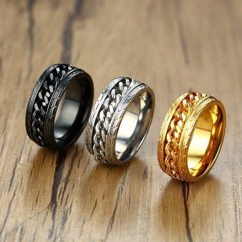 8mmクールスピナーチェーンリング ブラック メンズタイヤテクスチャ ステンレス パンク 男性 ゴールド シルバー 指輪 アクセサリー_画像1