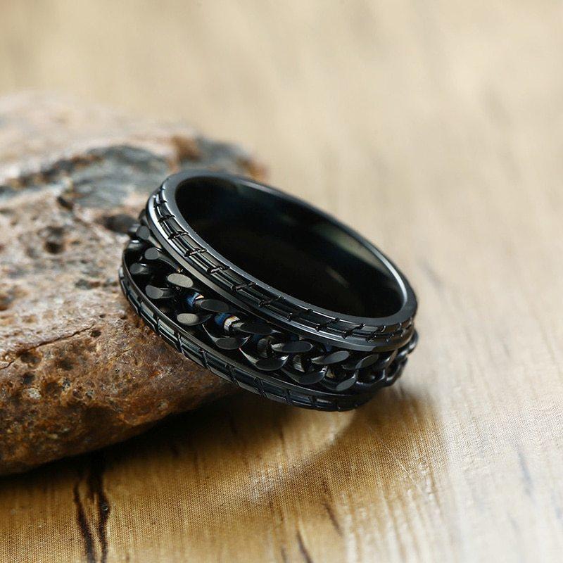 8mmクールスピナーチェーンリング ブラック メンズタイヤテクスチャ ステンレス パンク 男性 ゴールド シルバー 指輪 アクセサリー_画像3
