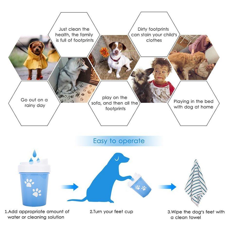 人気急上昇♪便利なペット用足洗浄機【Lサイズ】☆ペット 犬 猫 散歩 ブラシ 掃除 洗う ポータブル クリーニング カップ ブルー RU118_画像7