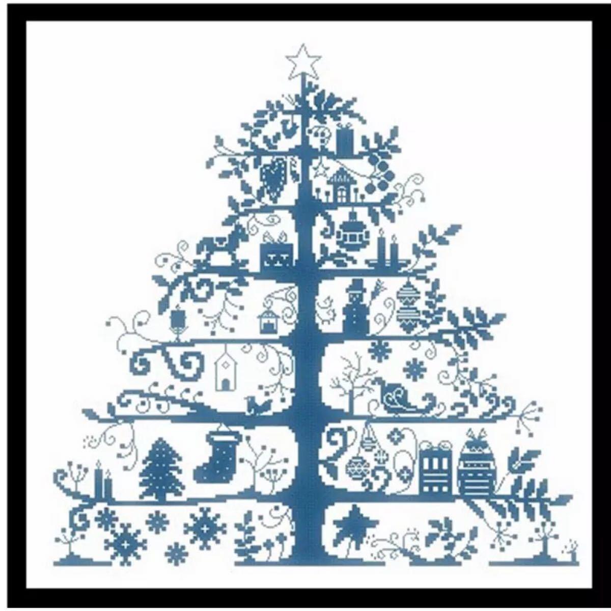 【再入荷!】クロスステッチ 刺繍キット クリスマスツリー 青 もみの木