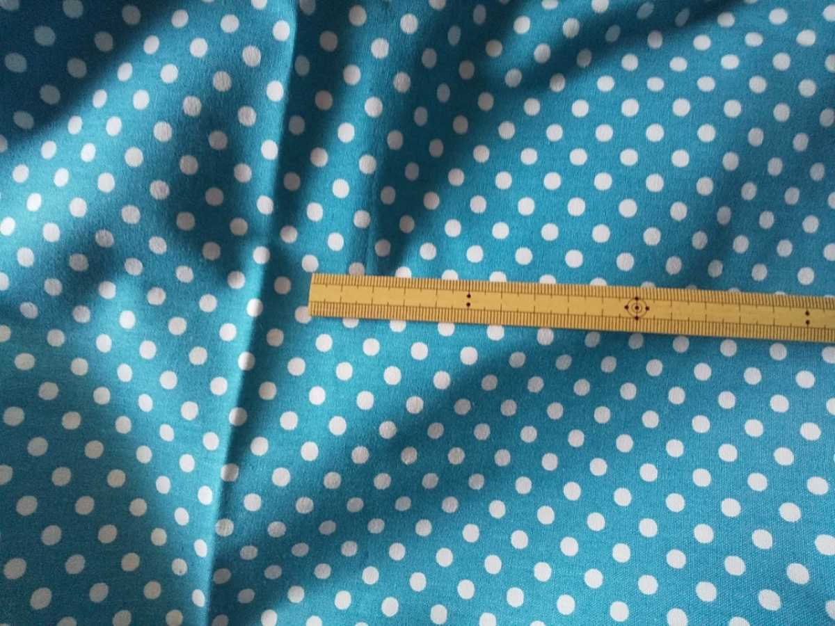はぎれ*可愛い水玉♪ ドット ブルー×白② 入園入学準備に 150cm幅 綿100% 帆布 コットン生地