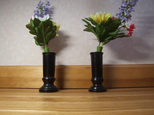 『ヤフオクで応援』仏具 木製 常花、盆花、立て 1対(2個) 紫檀色