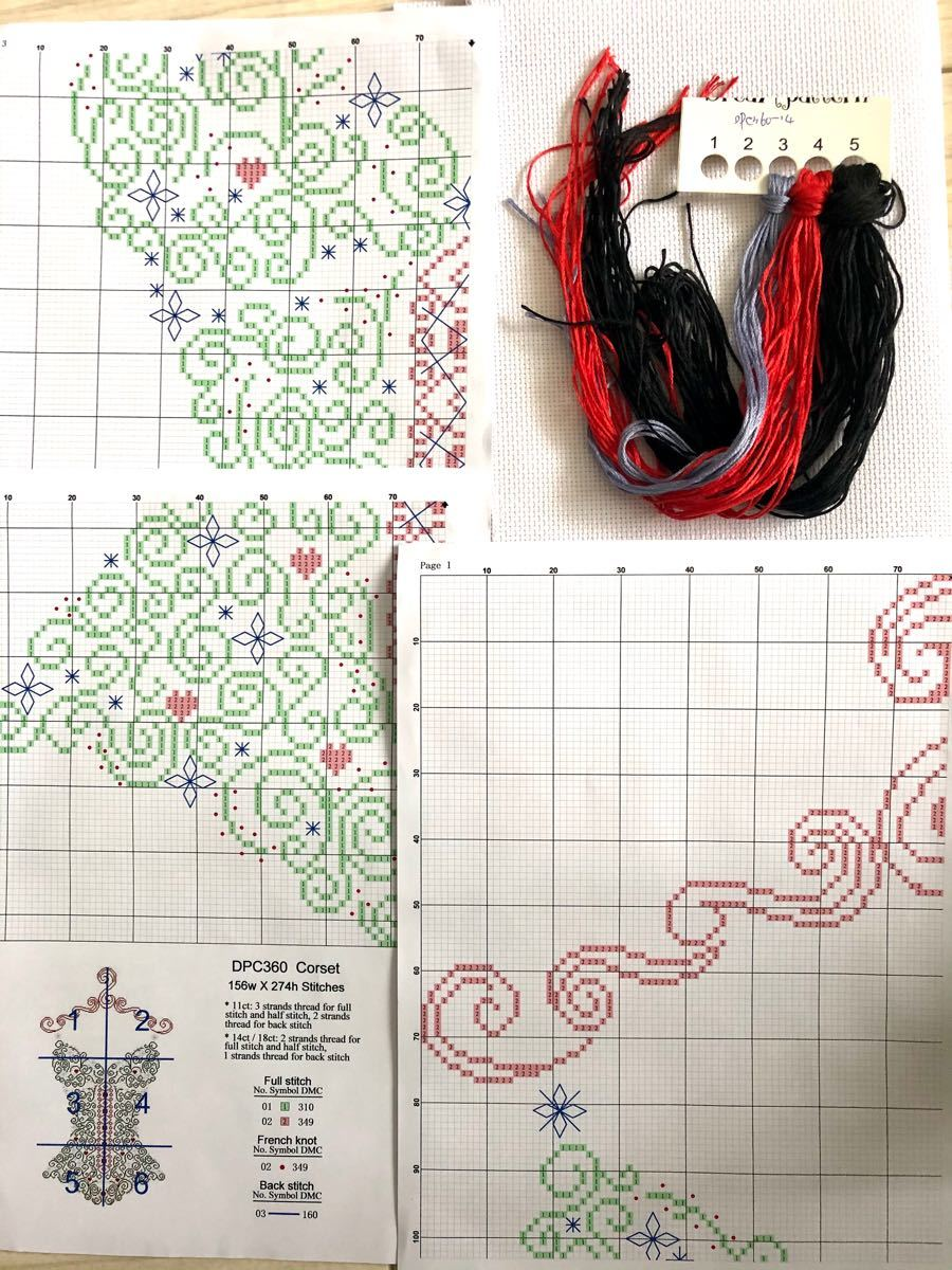クロスステッチ刺繍キット コルセット