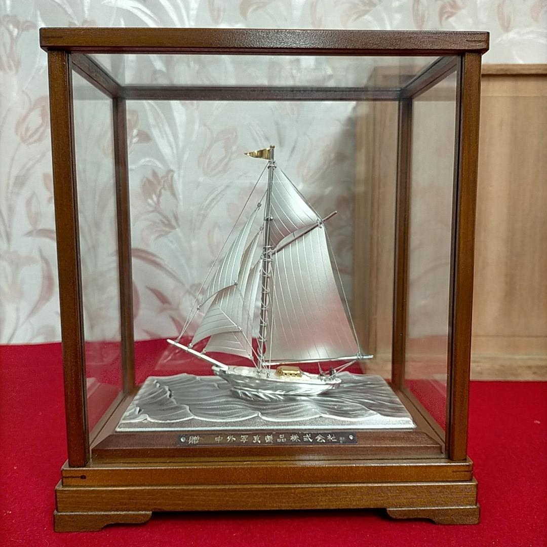 銀製ヨット 銀960刻印 伝統工芸 武比古作 定価32万 共箱付