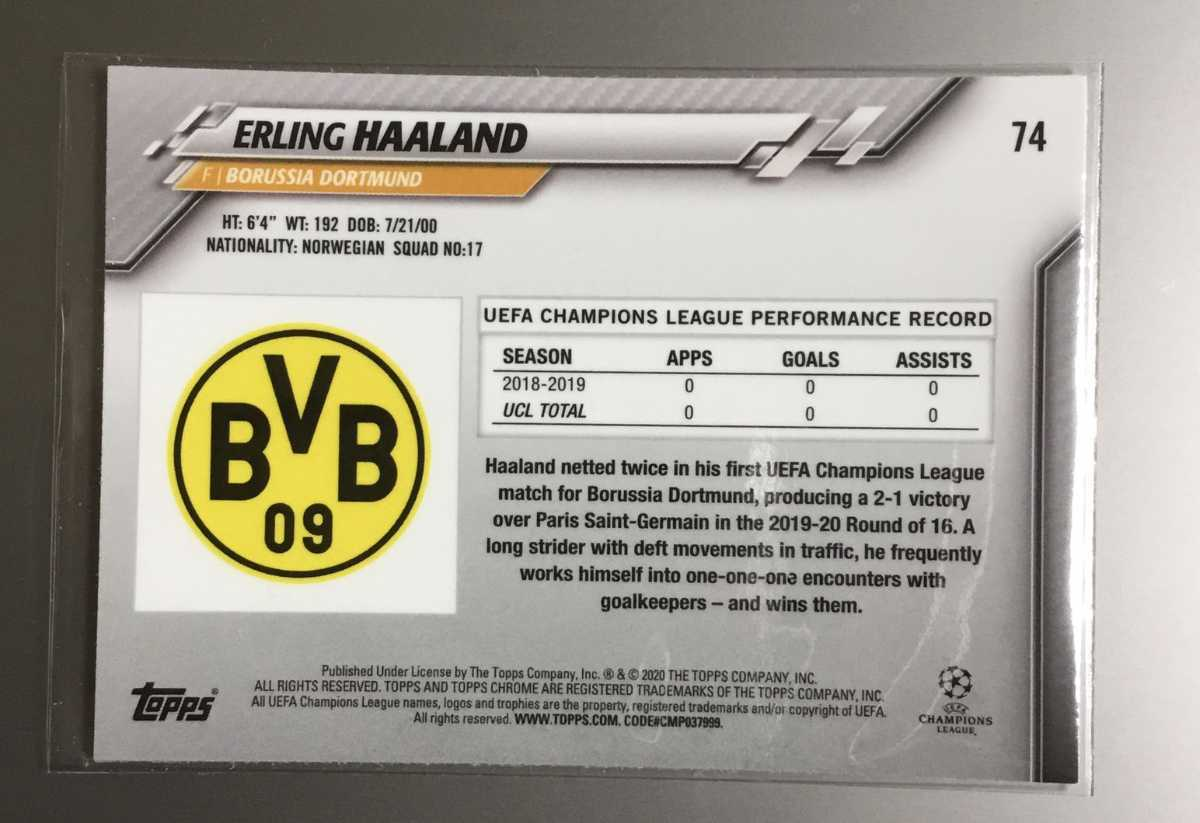 Topps chrome 2019-20 Champions League Erling Haaland Base RC rookie_画像2