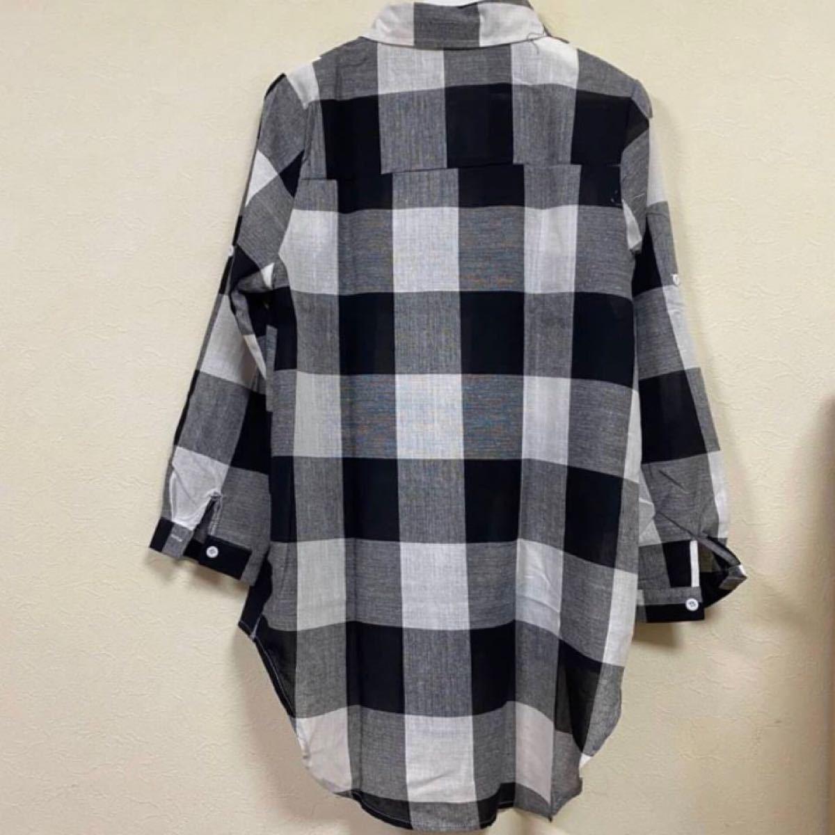 シャツ ワンピース 開襟 ブロック チェック 秋 冬 モノトーンチェック XL