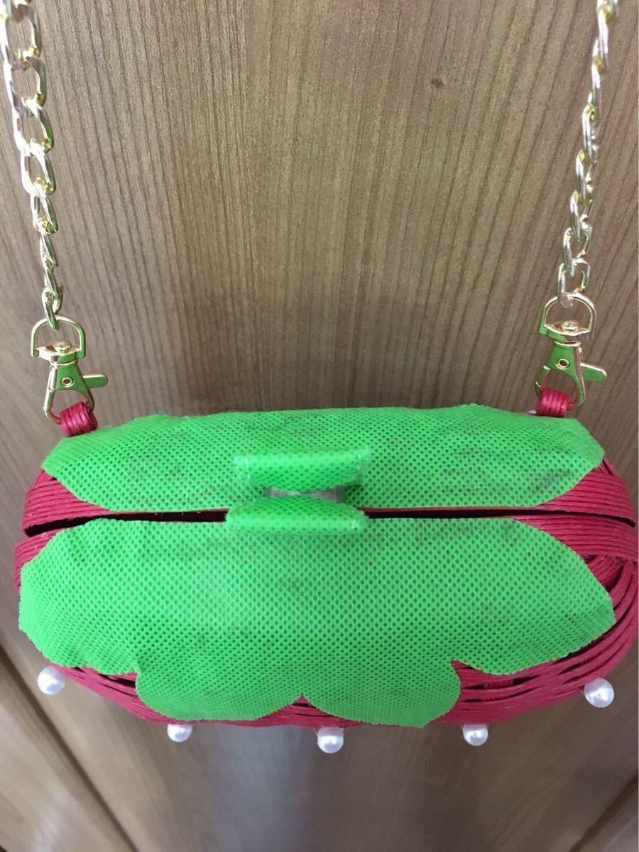 ハンドメイド バッグ ハンドメイドイチゴ ハンドメイドカゴバッグ 赤 パール ハンドメイドかばん ショルダーバッグ いちご