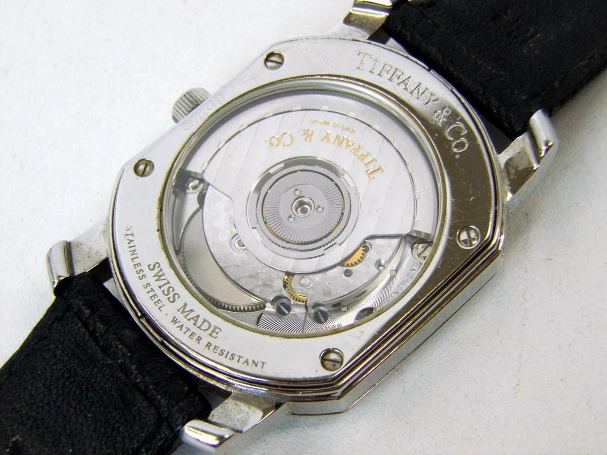 J0212-26店63157 動作確認! TIFFANY&Co. 21J マーククーペ 腕時計 ティファニー AUTOMATIC 裏蓋スケルトン_画像7