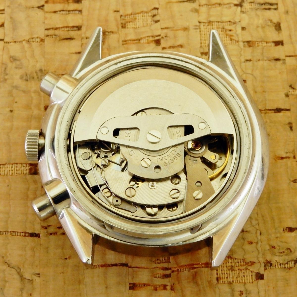 [ベビーパンダ/BabyPanda] Seiko Chronograph 6138-8000 SS AT/セイコークロノグラフ 61CHW 自動巻/2種目盛タキメーター 1971年_画像6