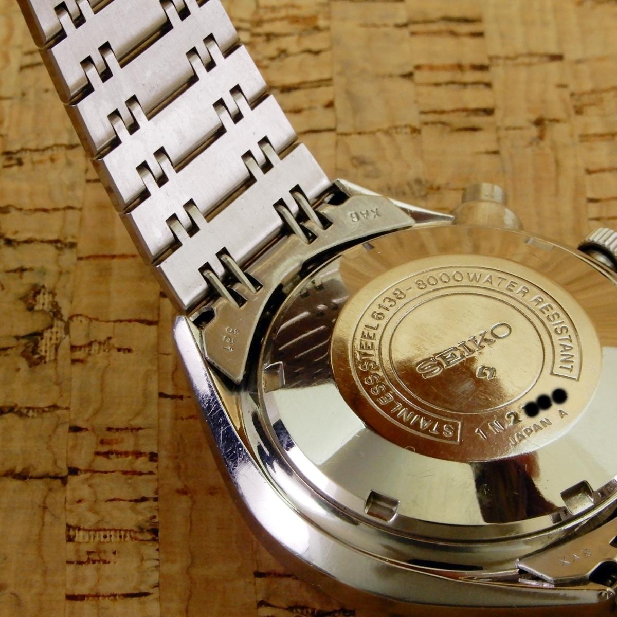 [ベビーパンダ/BabyPanda] Seiko Chronograph 6138-8000 SS AT/セイコークロノグラフ 61CHW 自動巻/2種目盛タキメーター 1971年_画像9