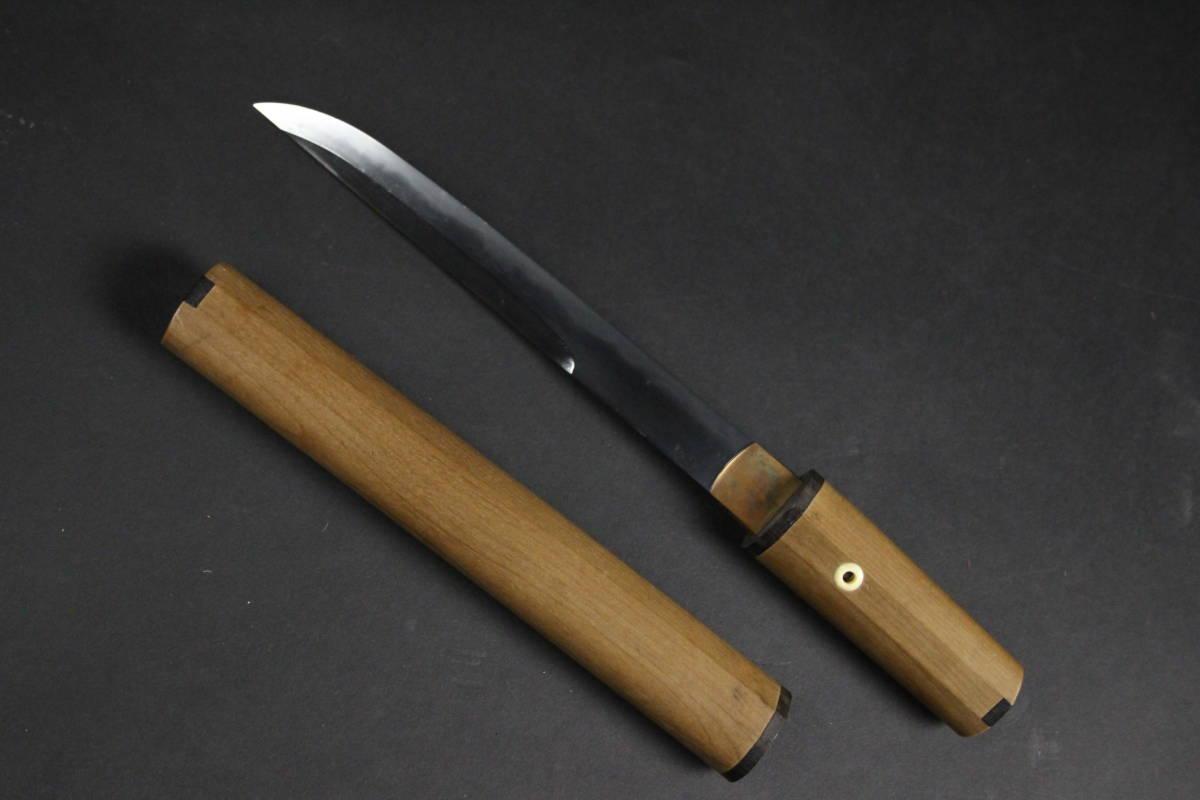 【朱】刀剣武具 兼法 鵜首造短刀 18.8cm 白鞘 時代古玩 [C3らさ]