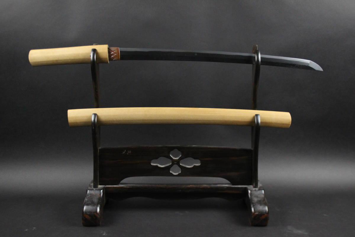 【朱】刀剣武具 直刃 脇差 47.2cm 白鞘 時代古玩 [C35がん]