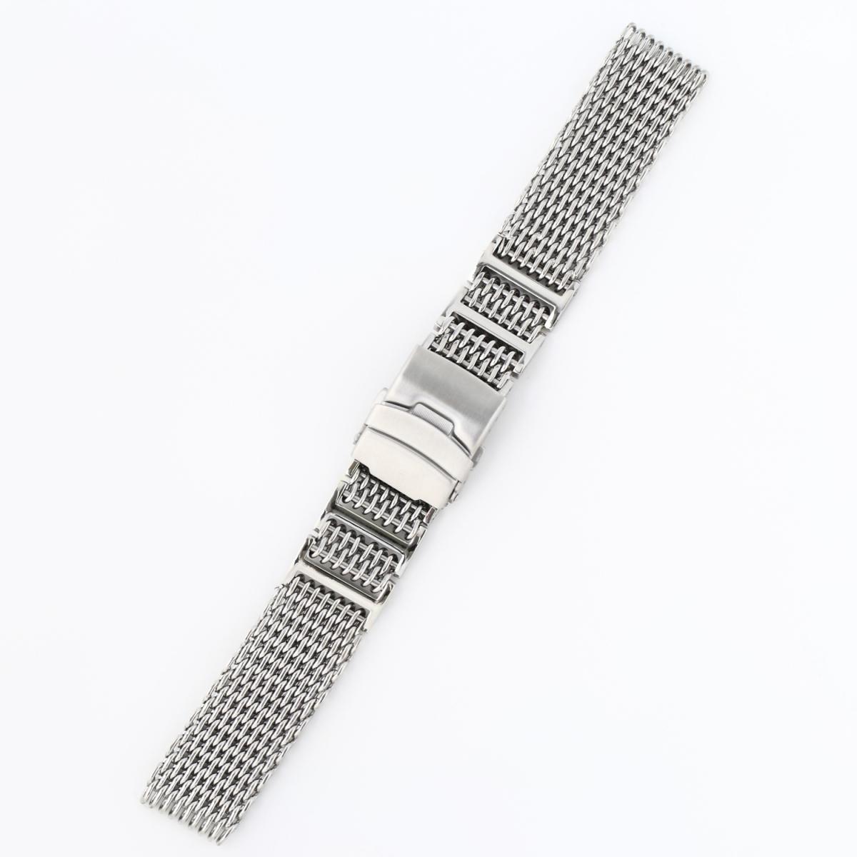 シャークメッシュ 時計ベルト 24mm Hリンク シルバーステンレス_画像2