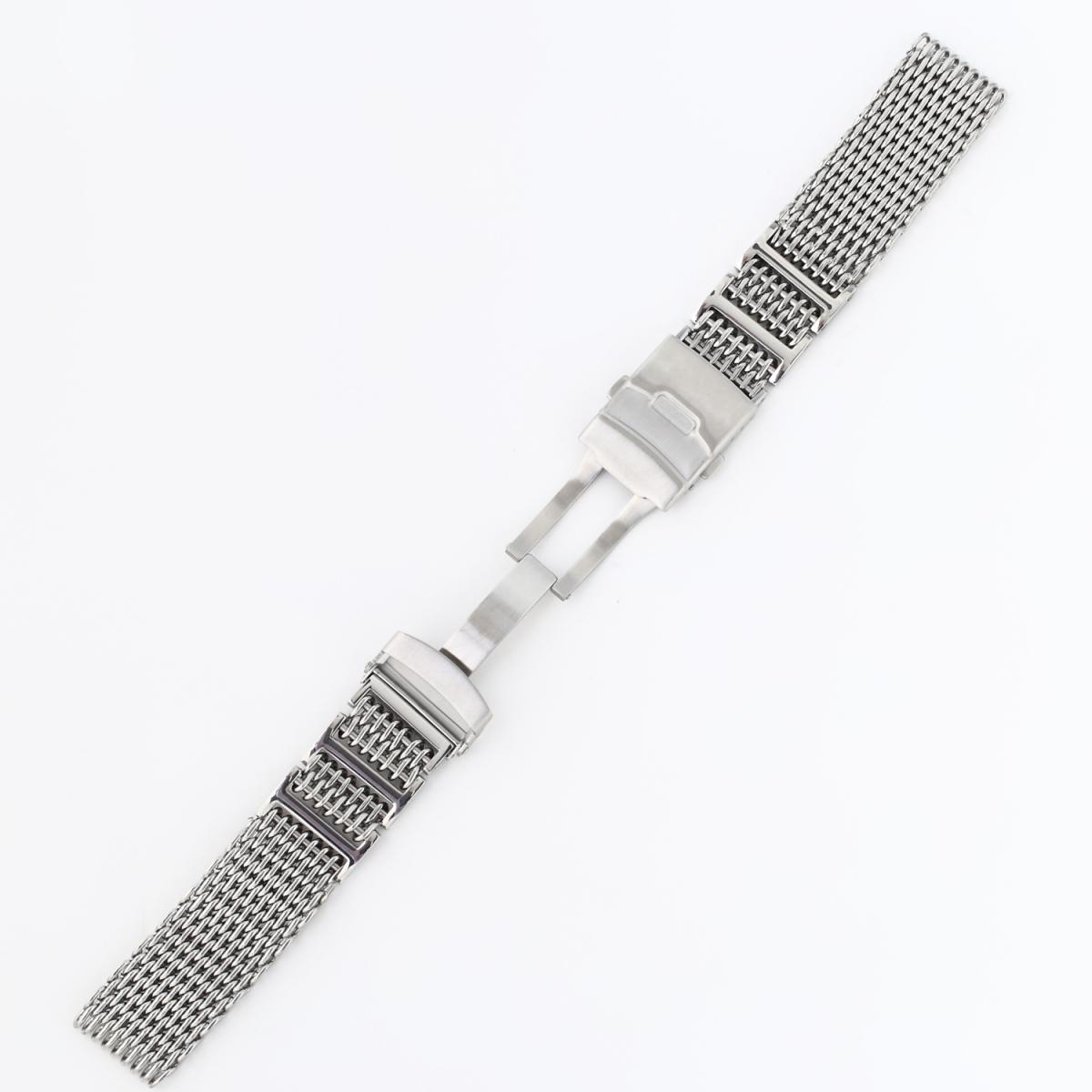 シャークメッシュ 時計ベルト 24mm Hリンク シルバーステンレス_画像3
