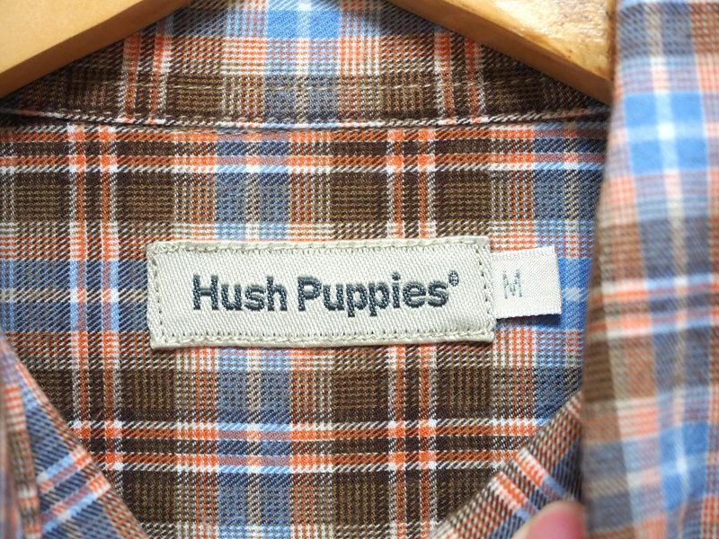 Hush Puppies ハッシュパピー ボタンダウンシャツ チェックシャツ M ロゴ刺繍
