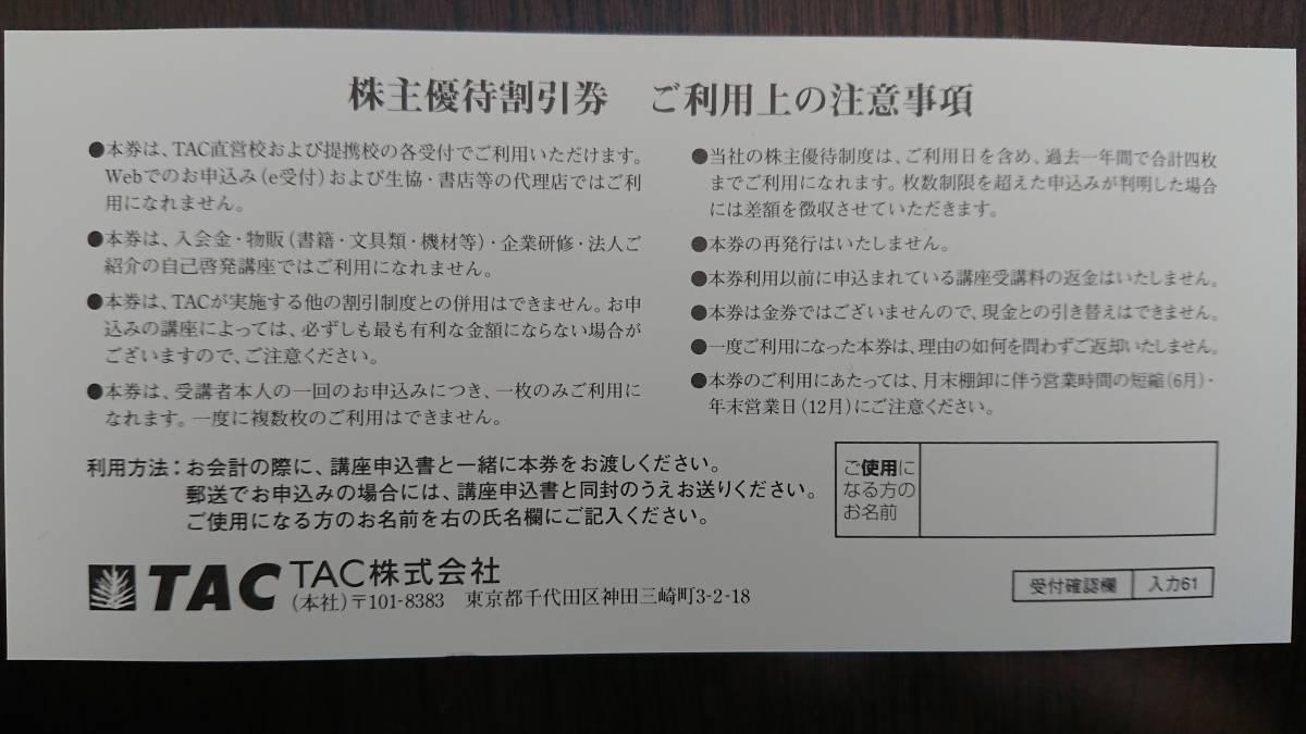 普通郵便送料込 資格の学校 TAC Wセミナー 株主優待割引券 受講料(定価)の10%OFF 有効期限2021/12/31_画像2