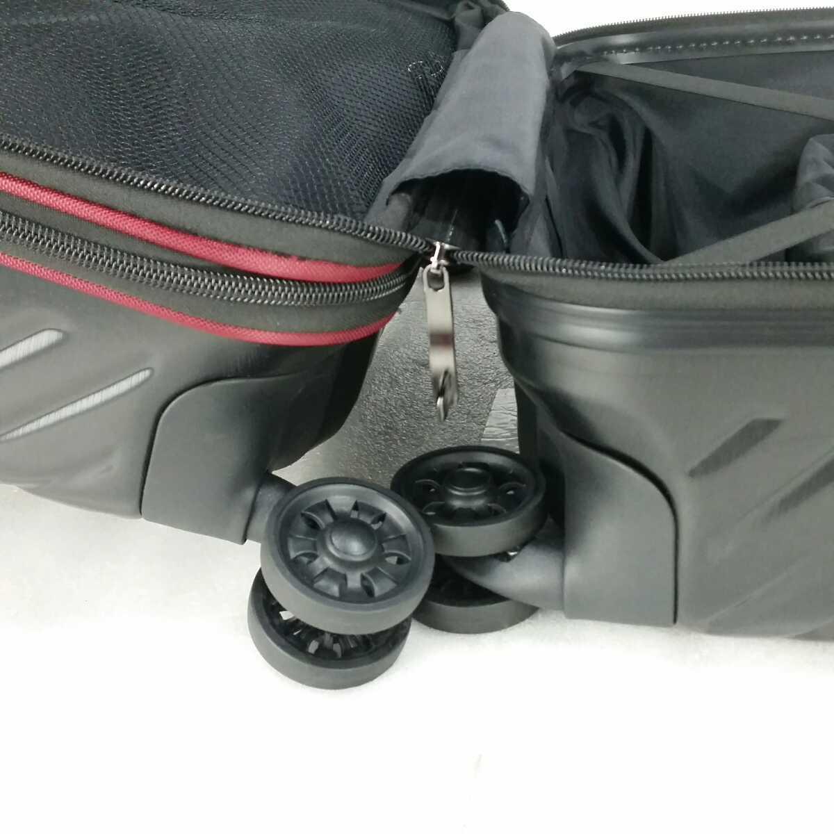 ス111 Sサイズ 横型 フロントオープン スーツケース キャリーケース 機内持ち込み 拡張機能 ブラック_画像8