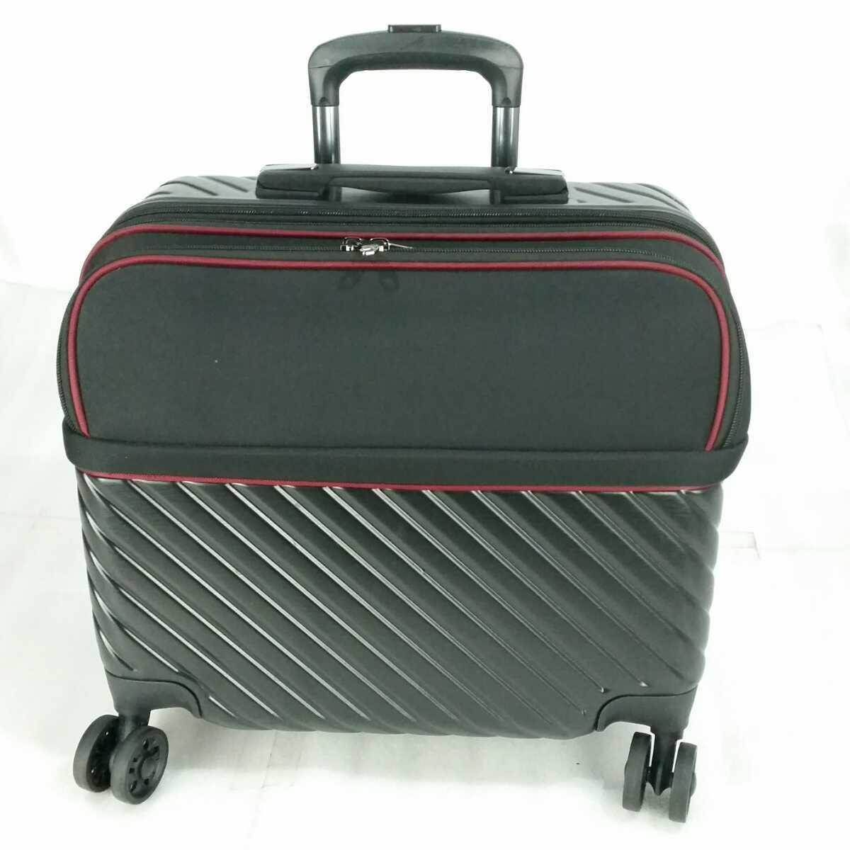 ス111 Sサイズ 横型 フロントオープン スーツケース キャリーケース 機内持ち込み 拡張機能 ブラック_画像1