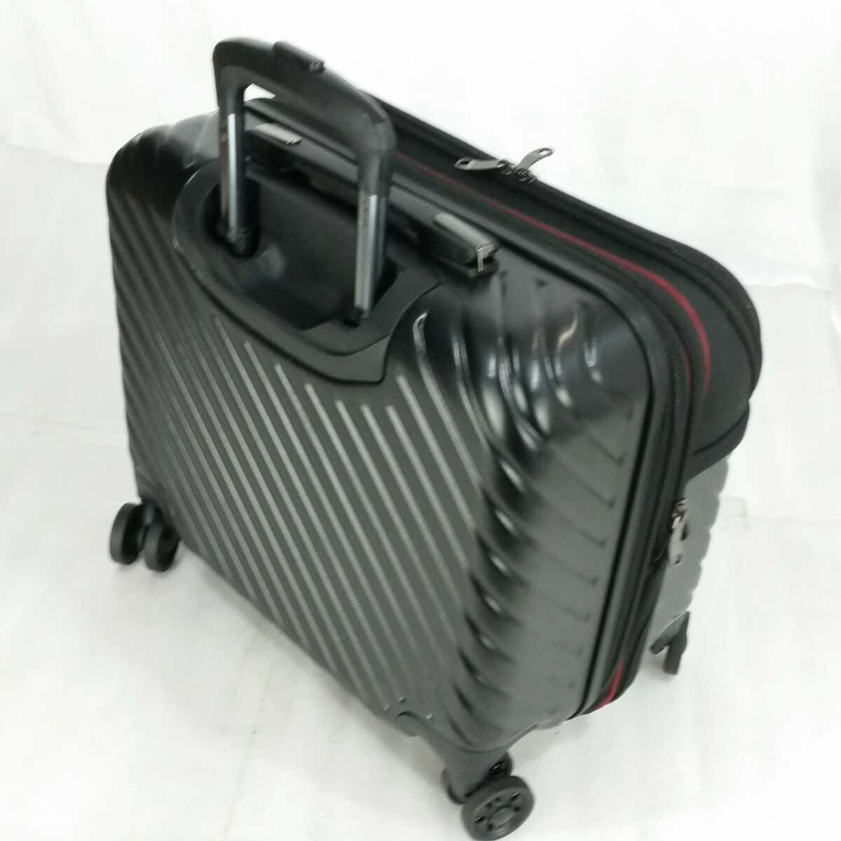 ス111 Sサイズ 横型 フロントオープン スーツケース キャリーケース 機内持ち込み 拡張機能 ブラック_画像3