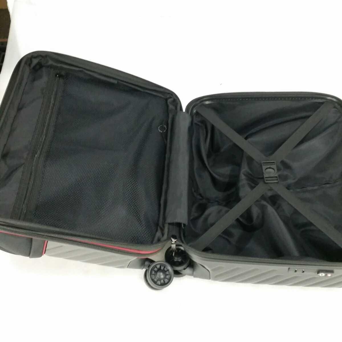 ス111 Sサイズ 横型 フロントオープン スーツケース キャリーケース 機内持ち込み 拡張機能 ブラック_画像7