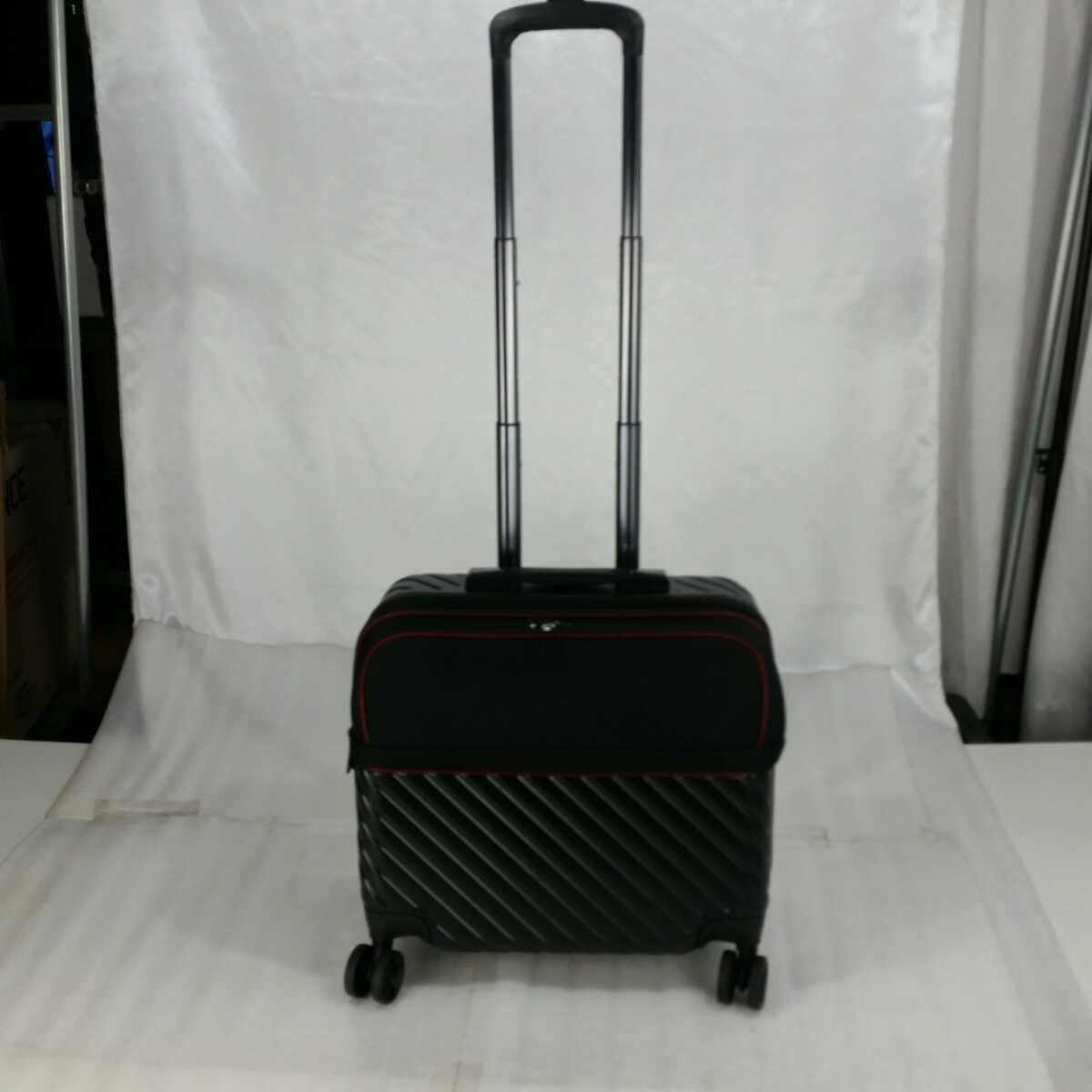 ス111 Sサイズ 横型 フロントオープン スーツケース キャリーケース 機内持ち込み 拡張機能 ブラック_画像4