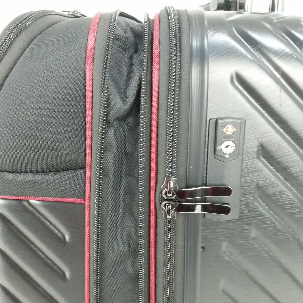 ス111 Sサイズ 横型 フロントオープン スーツケース キャリーケース 機内持ち込み 拡張機能 ブラック_画像6
