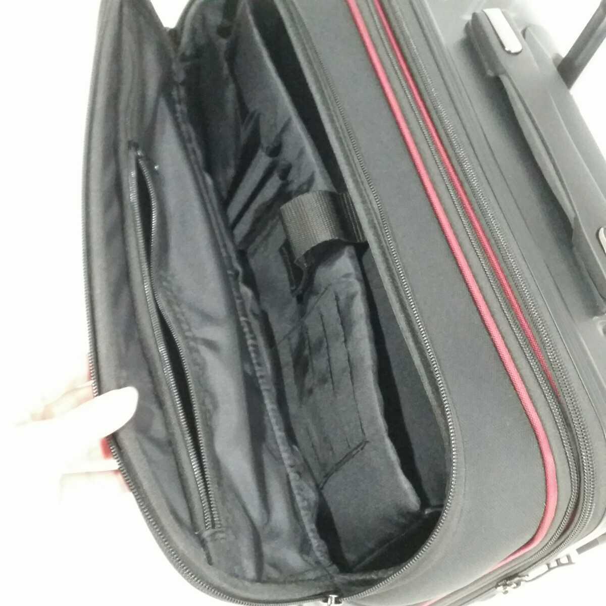 ス111 Sサイズ 横型 フロントオープン スーツケース キャリーケース 機内持ち込み 拡張機能 ブラック_画像5