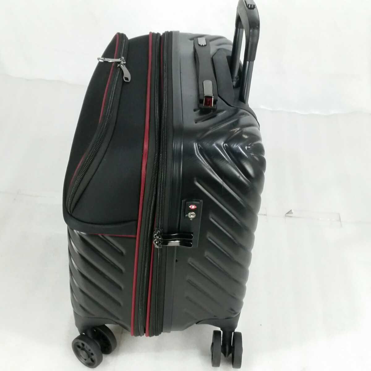 ス111 Sサイズ 横型 フロントオープン スーツケース キャリーケース 機内持ち込み 拡張機能 ブラック_画像2