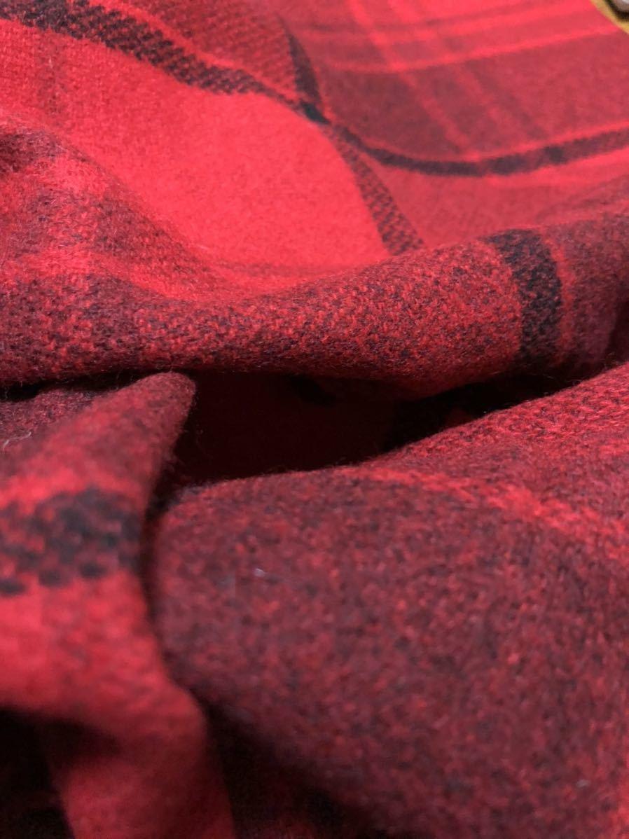 生地 はぎれ チェック ハンティング ウール ツィード ビッグ 赤 約50cm