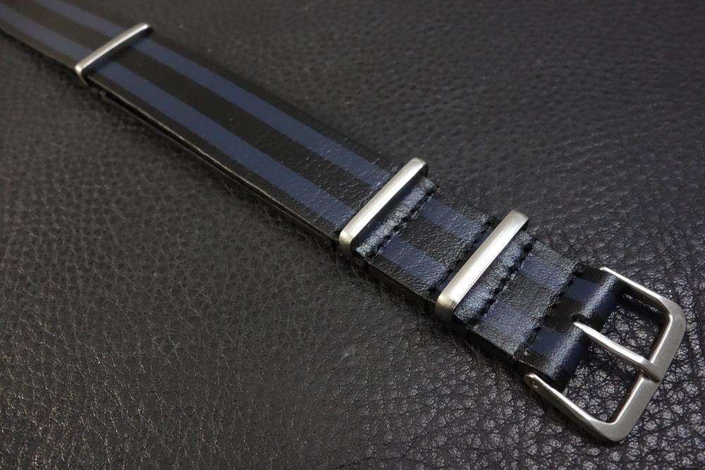 ◆レザーNATO G10ストラップ◆ ボンドカラー カーフレザー 20mm 強力撥水 新品 日本製 本革 黒 ミリタリー ブレスレット 腕時計ベルト_画像2