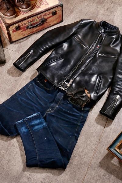 シープスキン 1960  カフェレーサー シングルライダース レザージャケット ブラック Sサイズ  オイルレザー ラム 羊革 黒芯 1枚革_画像3