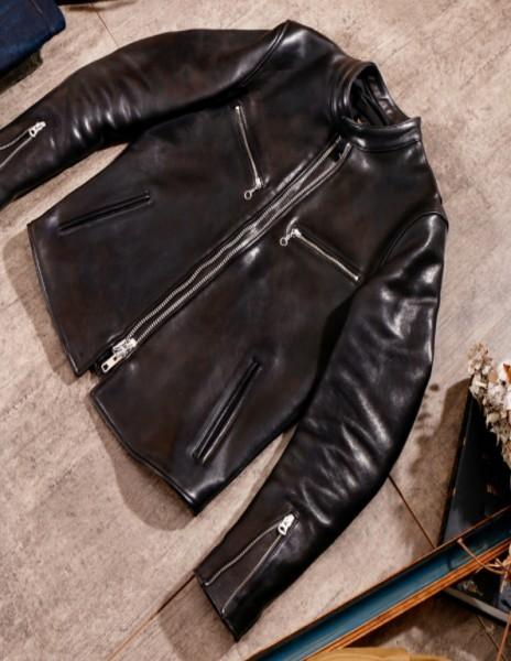 シープスキン 1960  カフェレーサー シングルライダース レザージャケット ブラック Sサイズ  オイルレザー ラム 羊革 黒芯 1枚革_画像2