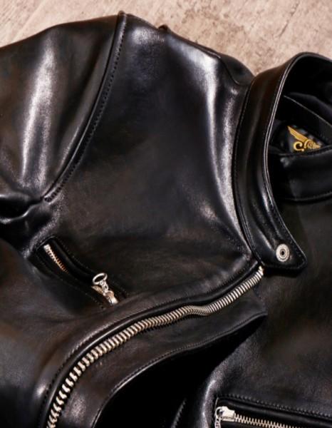 シープスキン 1960  カフェレーサー シングルライダース レザージャケット ブラック Sサイズ  オイルレザー ラム 羊革 黒芯 1枚革_画像8