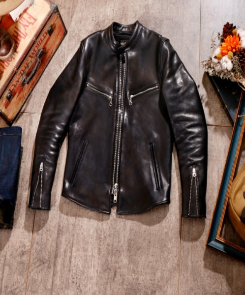 シープスキン 1960  カフェレーサー シングルライダース レザージャケット ブラック Sサイズ  オイルレザー ラム 羊革 黒芯 1枚革_画像1