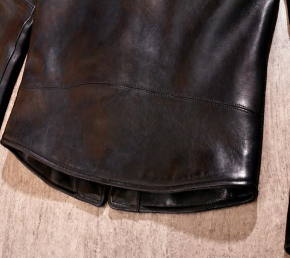 シープスキン 1960  カフェレーサー シングルライダース レザージャケット ブラック Sサイズ  オイルレザー ラム 羊革 黒芯 1枚革_画像5