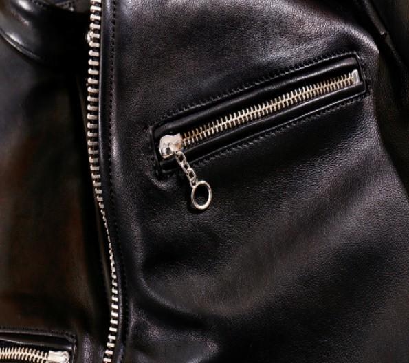 シープスキン 1960  カフェレーサー シングルライダース レザージャケット ブラック Sサイズ  オイルレザー ラム 羊革 黒芯 1枚革_画像7