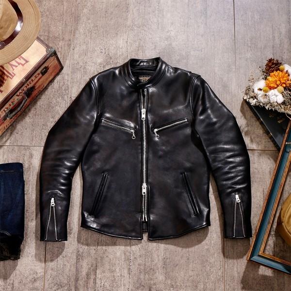 シープスキン 1960  カフェレーサー シングルライダース レザージャケット ブラック Sサイズ  オイルレザー ラム 羊革 黒芯 1枚革_画像4