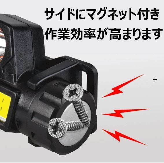 懐中電灯 ライト 明かり LED ヘッドライト ヘルメットライト 小型 強力 充電式 明るい USB キャンプ 作業 停電 災害 津波