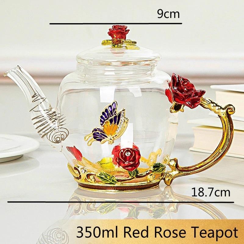 ◆最安にします◆ ヨーロッパ調 ローズガラスティーポット やかん ケトル コーヒー お茶 紅茶 アンティーク 西洋 ガラス ギフト AT10335
