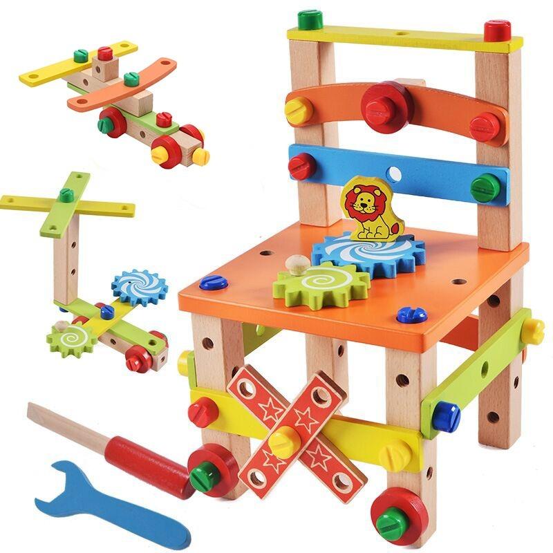 ◆最安にします◆子供用木製おもちゃ 知育玩具 積み木ブロック 椅子工作 組み立て 学習教育 変形 トレーニング 幼児 幼稚園学習 AT10571_画像1